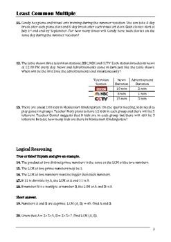 Least Common Multiple Worksheet