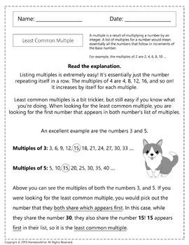 4.OA.4 - Least Common Multiple Worksheets