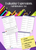 Evaluating Expressions Worksheets