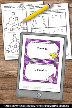 Least Common Multiple Games with Task Cards, Worksheets, Anchor Charts LCM