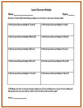 Least Common Multiple Worksheets (Three Worksheets w/ Answer Keys)