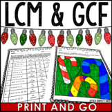 Least Common Multiple and Greatest Common Factor Christmas Coloring Activity