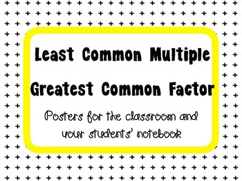 Least Common Multiple and Greatest Common Factor Posters