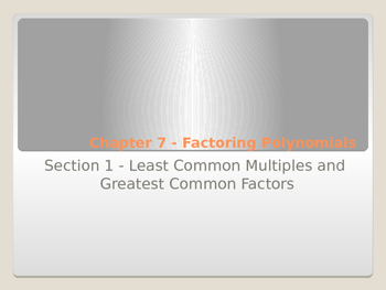 Least Common Multiple and Greatest Common Factor with Foldable