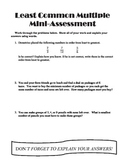 Least Common Multiples Mini-Assessment