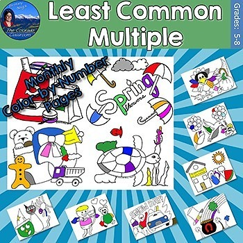 Least Common Multiple (LCM) Monthly Color by Number Bundle