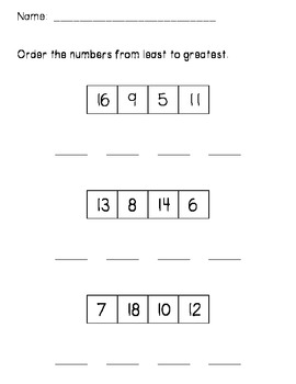 Least to Greatest - Ordering Numbers