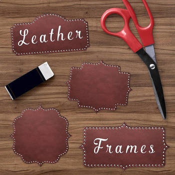 Leather Borders Clipart, Brown Leather Frames