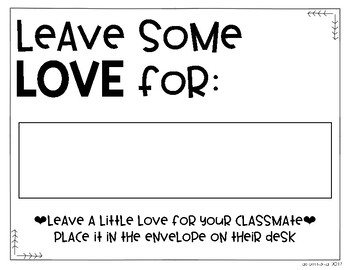 Leave Some Love Classroom Community Building Activity