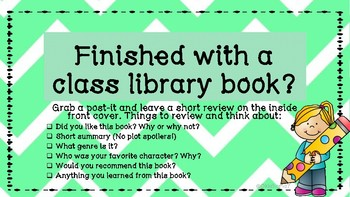 Leave a quick review in a classroom library book