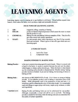 Leavening Agents Lesson