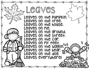 Leaves  (A Pocket Chart Activity and Emergent Reader Student Book)