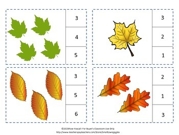 Counting to 20 Leaves Count and Clip Task Cards Interactive Center Activities
