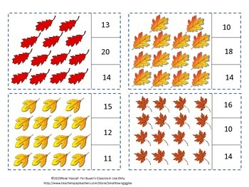 Fall Leaves Fall Task Cards Count and Clip Special Ed Math Fine Motor Skills