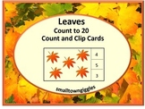 Fall Leaves Fall Task Cards Count and Clip Special Ed Math