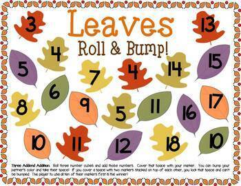Leaves Math Center Dice Games