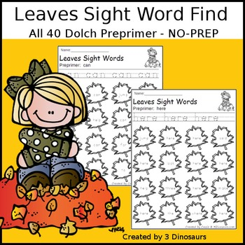 Leaves Sight Word Find: Preprimer