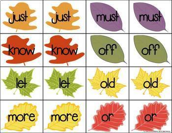 Leaves Sight Word Match Game