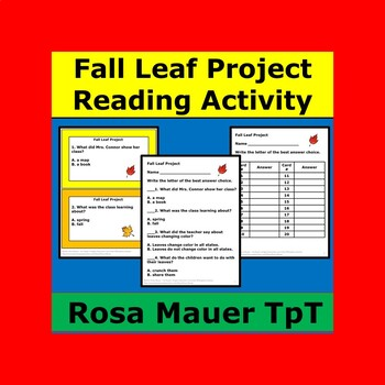 Fall Leaf Project Literacy Unit Autumn Reading