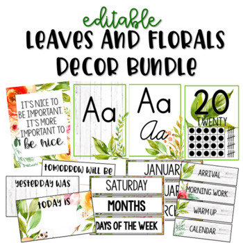 Leaves and Florals Decor - Editable - Farmhouse - Decor Bundle