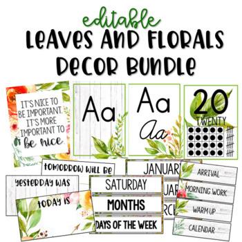 Leaves and Florals Decor - Editable - Farmhouse - Decor Bundle