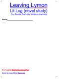 Leaving Lymon Lit Log (novel study) For Google Docs (for d