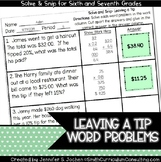 Leaving a Tip Word Problems |  Solve and Snip® |  TEKS 7.4d