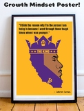 Lebron James L.A. Lakers NBA Basketball Growth Mindset Poster