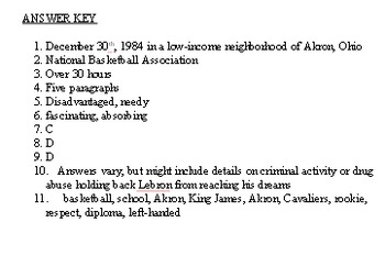 Lebron James NBA Reading Comprehension Worksheet with Answer Key