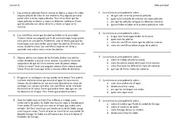 Lecciones de la Idea Principal - Spanish Main Idea Lessons