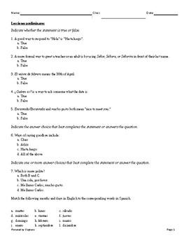Lecciones preliminares Asi se dice chapter test