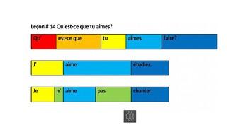 Leçon # 14 Qu'est-ce que tu aimes? PowerPoint with sound files for color block w