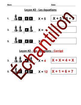 Algèbre leçon 2 - Feuillle de travail - La préservation d'égalité