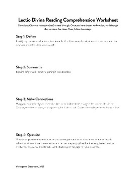 Lectio Divina Reading Comprehension Worksheet