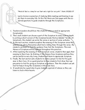 Lectio Divina - Scripture Study Pages