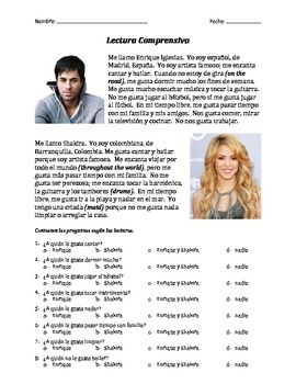 Lectura Comprensiva - Enrique & Shakira