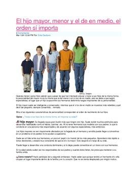 Lectura:  El hijo mayor/menor/medio