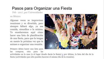Lectura - Organizar una fiesta (Reading Activity - Organizing a Party)