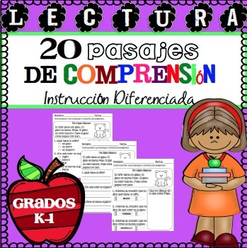 Lectura Pasajes de Comprension Set 1 Grados K-1 / Spanish Reading Comprehension