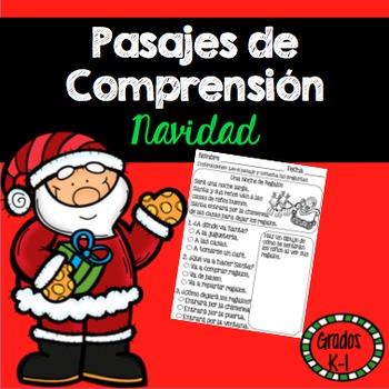 Lectura Pasajes de Comprension Navidad Grados K-1 /Spanish