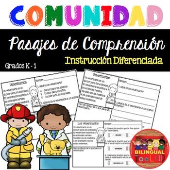 Lectura Pasajes de Comprensión Personajes de la Comunidad K-1 (Spanish Reading)