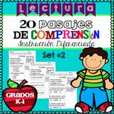 Lectura Pasajes de Comprensión Set 2 Grados K-1 / Spanish Reading Comprehension