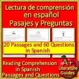Spanish Reading Comprehension Passages and Questions Informational Text