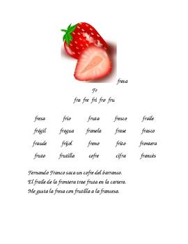 Lectura de palabras con silabas trabadas