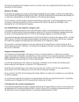 Lectura sobre las familias españolas. ¿Cómo han cambiado los hogares españoles?