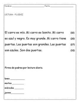 Lecturas de fluidez en español