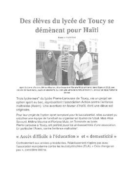 Lecture: Des Eleves du Lycee de Toucy se demenent pour Haiti