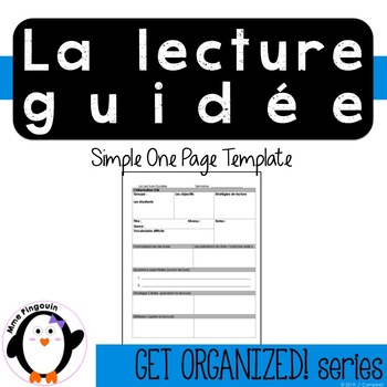 Lecture Guidée / Guided Reading Template (French Product)