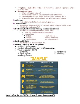 Lecture Notes: First Aid - Victim Assessment
