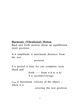Lecture Notes on Harminic and Rotational Motion